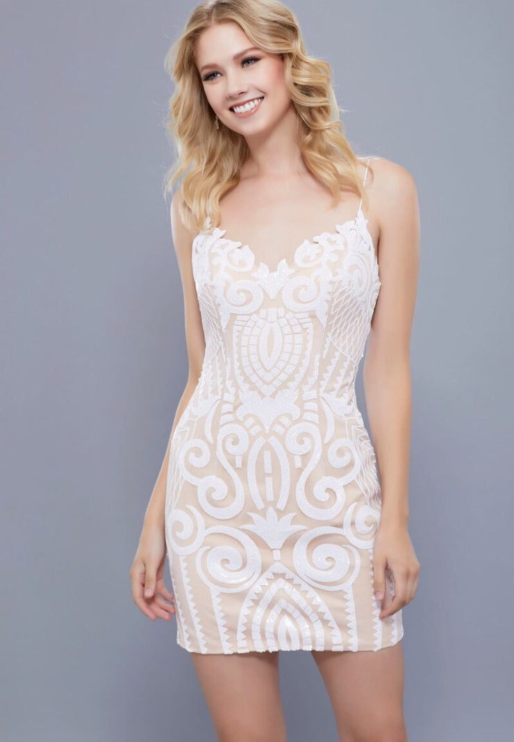 WHITE AND NUDE PATTERN SHORT DRESS - Chicago Bridal Store Company