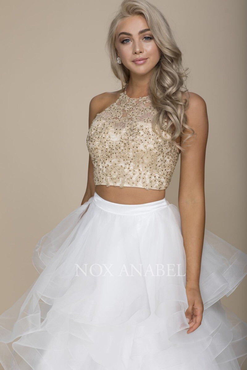 Sparkling Gold/Ivory 2-Piece 2018 Prom Dress