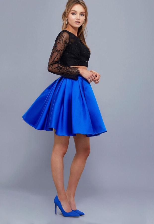 ROYAL BLUE  & BLACK TWO PIECE DRESS WITH GLAM LACE TOP - Chicago Bridal Store Company