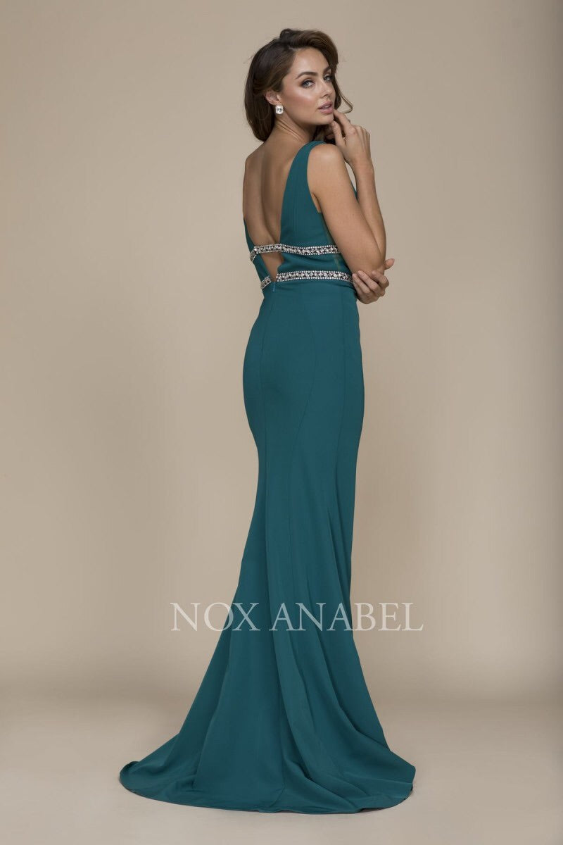 Green V-Neck Beaded Long Dress 2018 Prom Collection