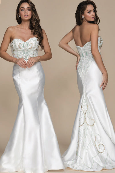 Ivory Mermaid Detailed  Formal Dress - Chicago Bridal Store Company