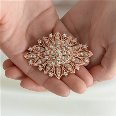 Rose Gold Vintage Floral Bridal Brooch - Chicago Bridal Store Company