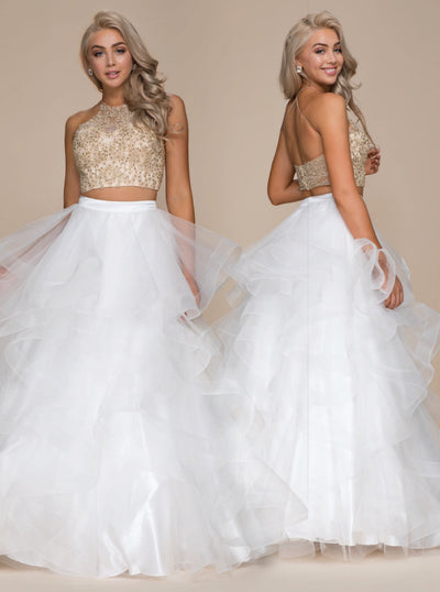 Goddess Gold & White 2-Piece  Long Dress - Chicago Bridal Store Company