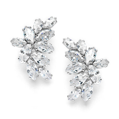 Clip-On Cubic Zirconia Marquis Cluster Earrings - Chicago Bridal Store Company