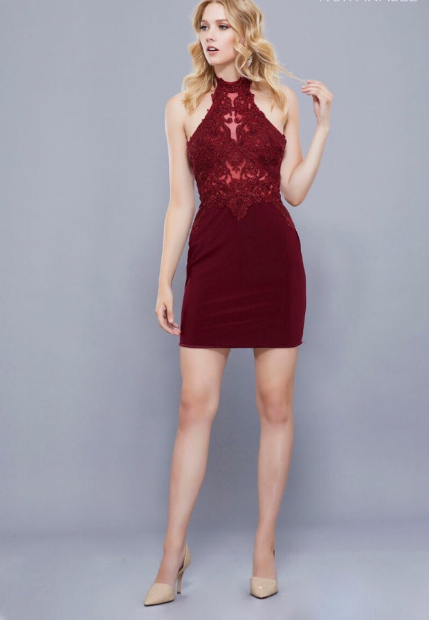 BURGUNDY JERSEY SKIRT LACE APPLIQUE TOP DRESS - Chicago Bridal Store Company