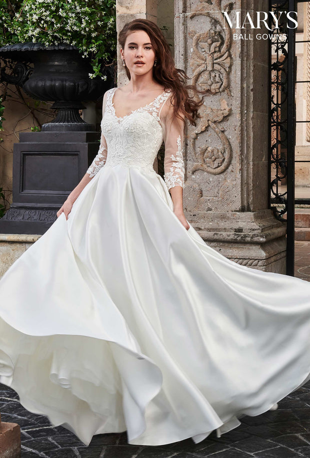 V Neck Ball Gown Wedding Dress with Sleeves MB6024 - Chicago Bridal Store Company