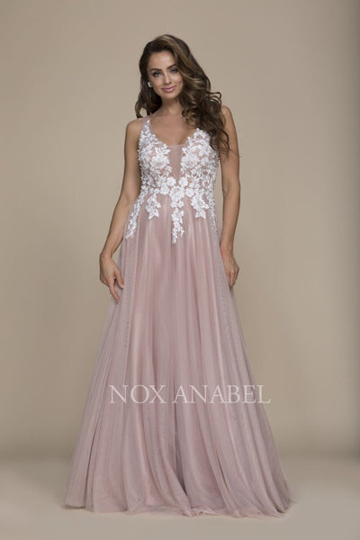 Tan Floral Bodice Tulle 2018 Prom Dress - Chicago Bridal Store Company