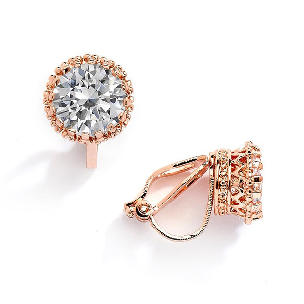 Rose Gold Crown Setting Clip-On 2.0 Carat Round Solitaire Cubic Zirconia Stud Earrings 4559EC-RG - Chicago Bridal Store Company