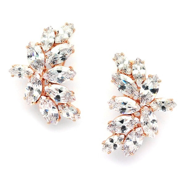Shimmering Cubic Zirconia Marquis Cluster Rose Gold Earrings - Chicago Bridal Store Company