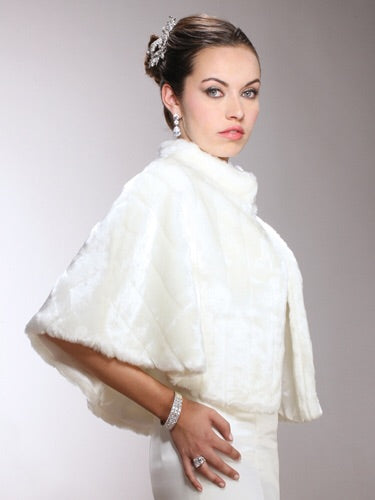 The Milan Faux Mink Fur Bridal Cape - Chicago Bridal Store Company