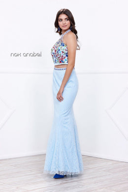 Aqua Blue 2-Piece Halter Dress with Floral Bodice