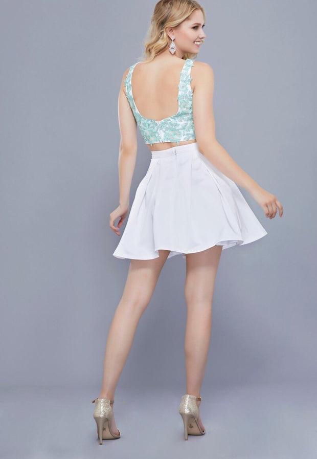 MINT & WHITE TWO PIECE DRESS WITH V NECKLINE TOP AND FULL SKIRT - Chicago Bridal Store Company