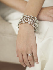 Grecian Style Couture Wedding or Prom Crystal Cuff Bracelet - Chicago Bridal Store Company