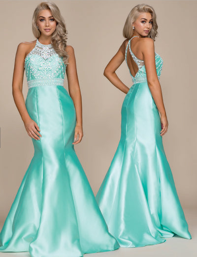 Mint Green Mermaid  Formal Dress - Chicago Bridal Store Company