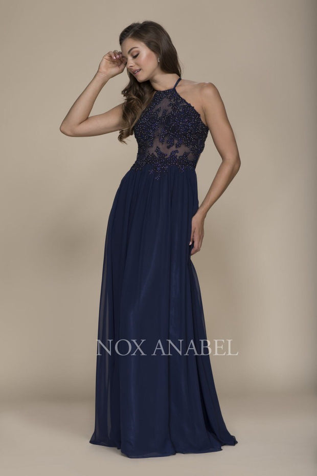 Navy Halter  Beaded Dress - Chicago Bridal Store Company