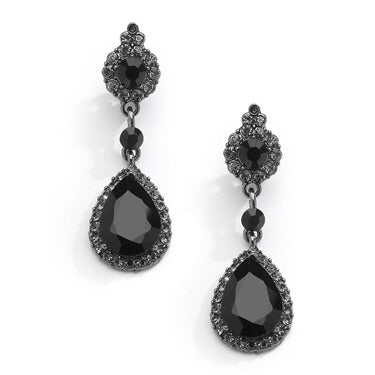 Jet Black Crystal Earrings with Teardrop Dangles - Chicago Bridal Store Company
