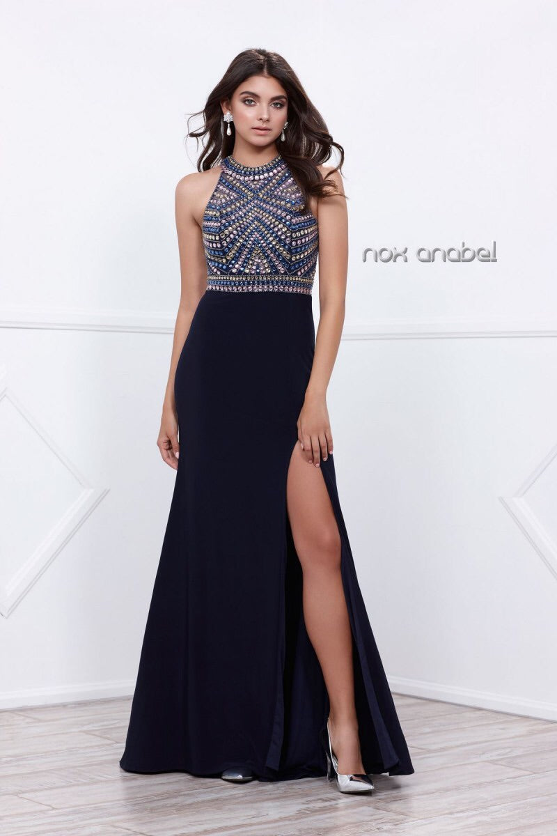 Navy Halter Open Back LongProm Dress