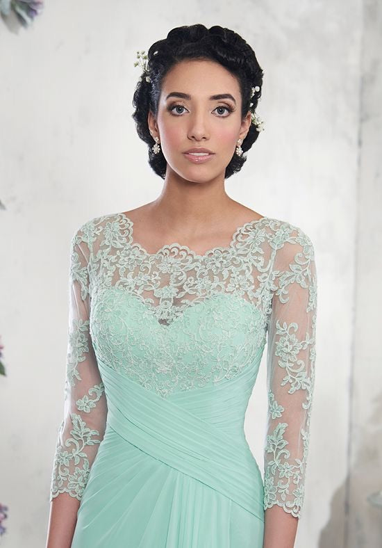 A Line Lace Sleeved Mother's of Bride/Groom - Chicago Bridal Store Company
