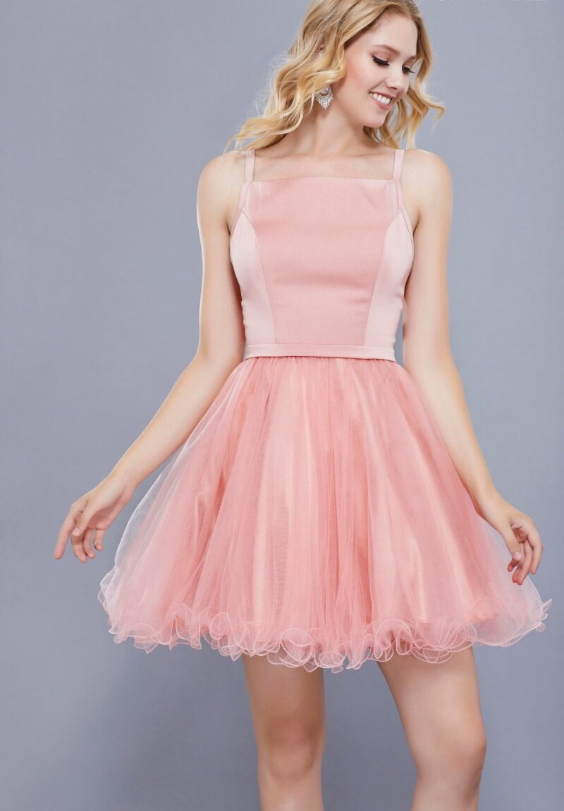 PINK SHORT SLEEVELESS DRESS WITH TULLE RUFFLED SKIRT