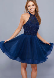 Navy Fit and Flare Short Dress - Chicago Bridal Store Company