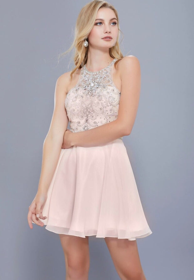 Nude Color Glamour Bodice Short Dress - Chicago Bridal Store Company