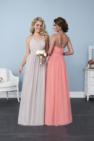 Bling Straps Chiffon A Line Bridesmaid Dress - Chicago Bridal Store Company