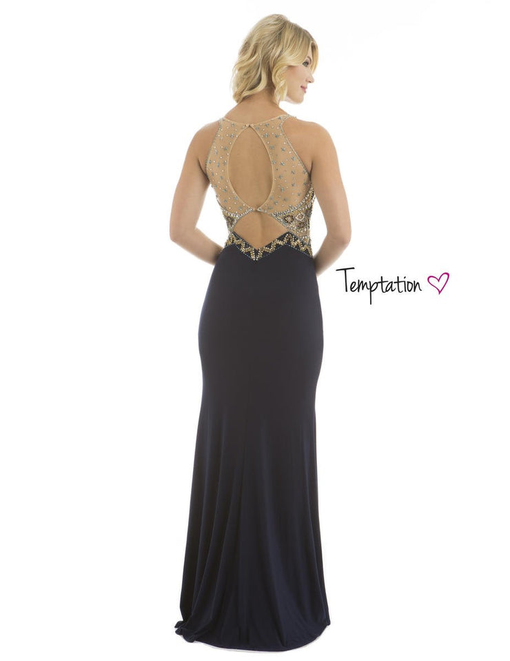 Navy Formal Beaded Goddess Gown - Chicago Bridal Store Company
