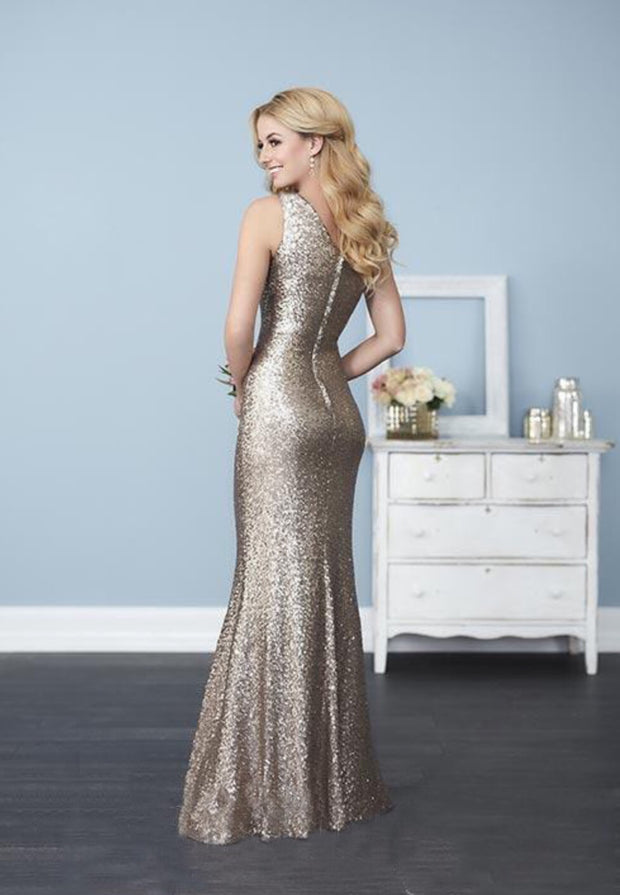 Shimmering sequin fabric one shoulder asymmetrical dress - Chicago Bridal Store Company