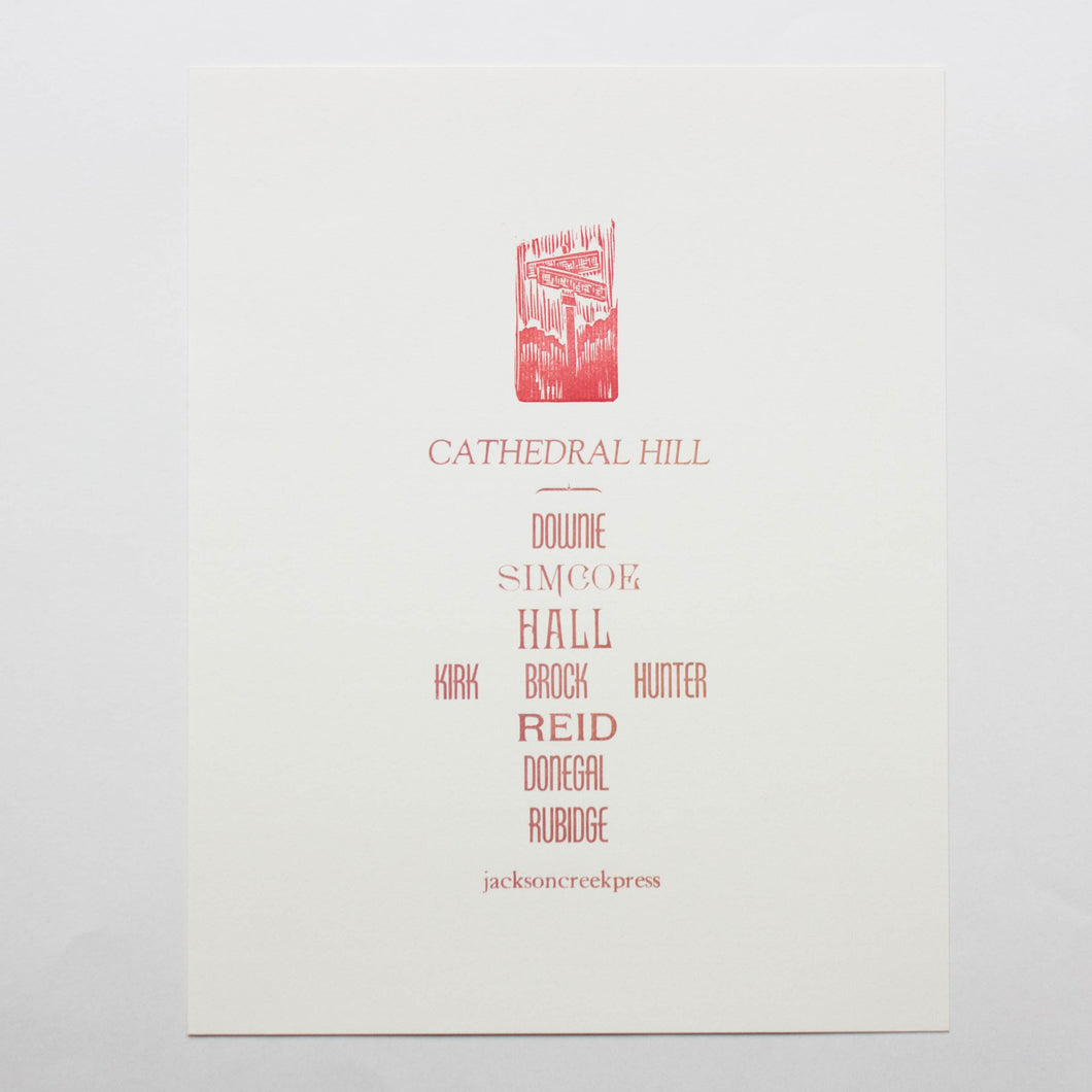 Cathedral Hill letterpress poster 11x14