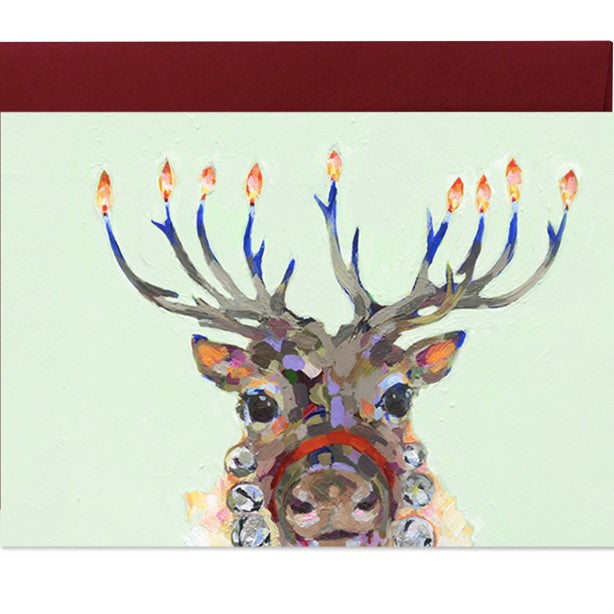 Hanukkah Christmas reindeer holiday greeting card