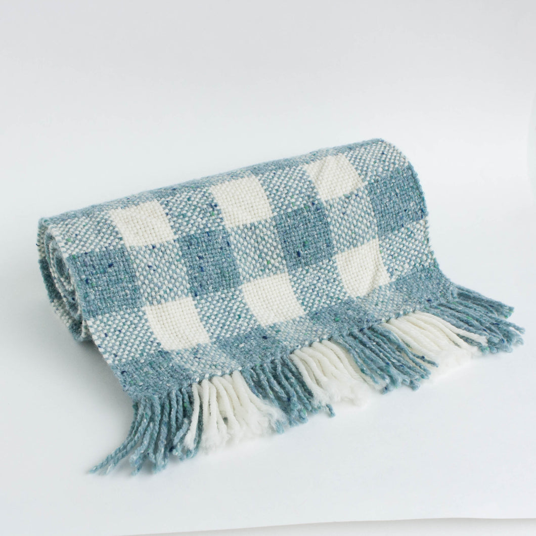 handwoven scarf - cream & tweedy blue check