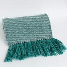 handwoven scarf - teal & pale grey twill