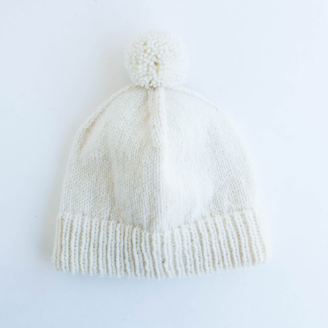 SALE - knitted hat - white plain stitch with pompom