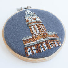 PTBO clock tower - framed embroidery