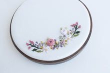floral wreath - framed embroidery
