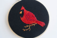 SALE - cardinal - framed embroidery
