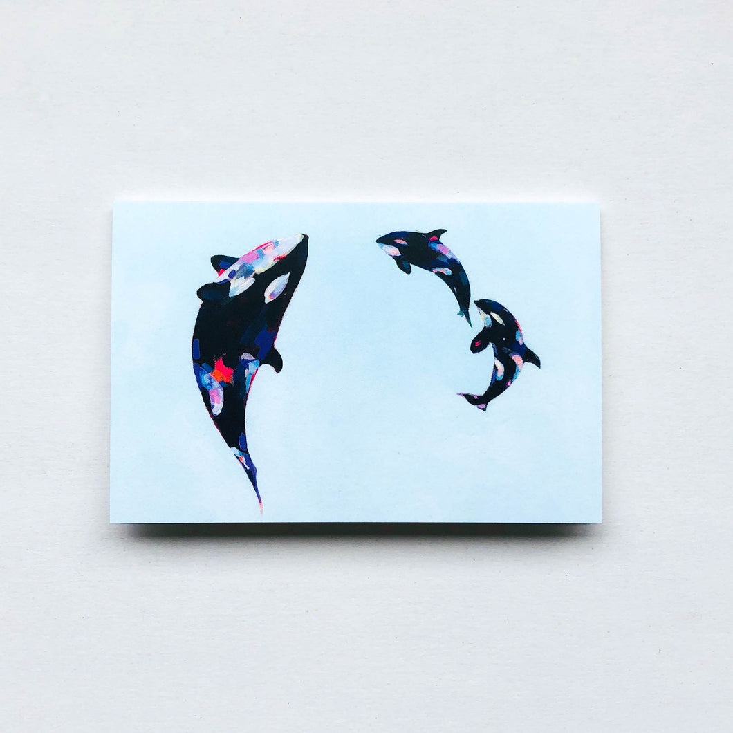 orca babies greeting card