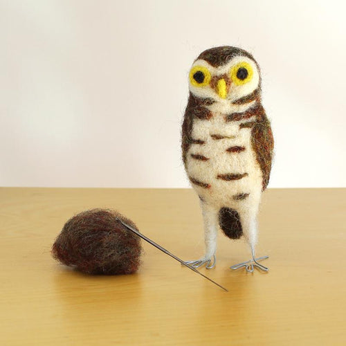 DIY needle felting kit: burrowing owl