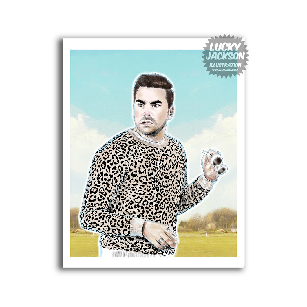 David Rose in a leopard print 8x10 print