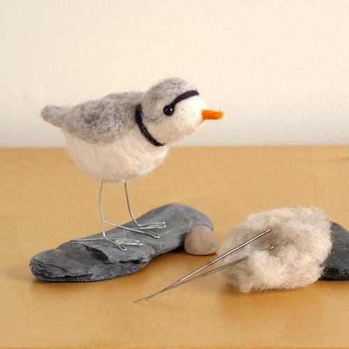 DIY needle felting kit: piping plover