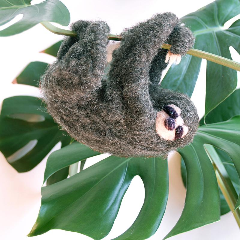 DIY needle felting kit: hanging sloth