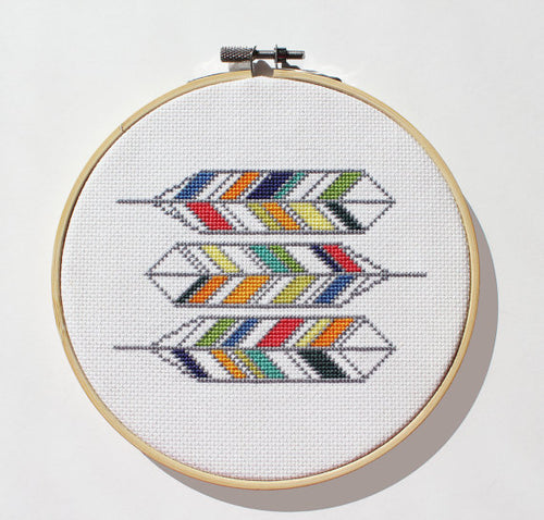 DIY cross stitch kit: geometric feathers