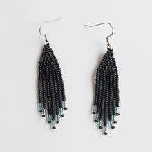 silvery blue & matte black beaded earrings