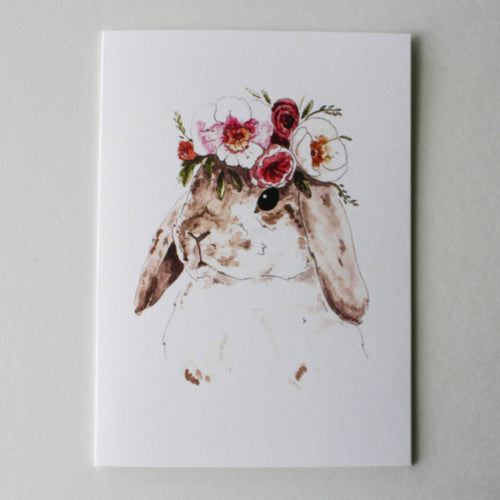 brown bunny with floral crown greeting card