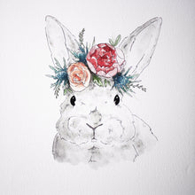 grey bunny with floral crown 8x10 print