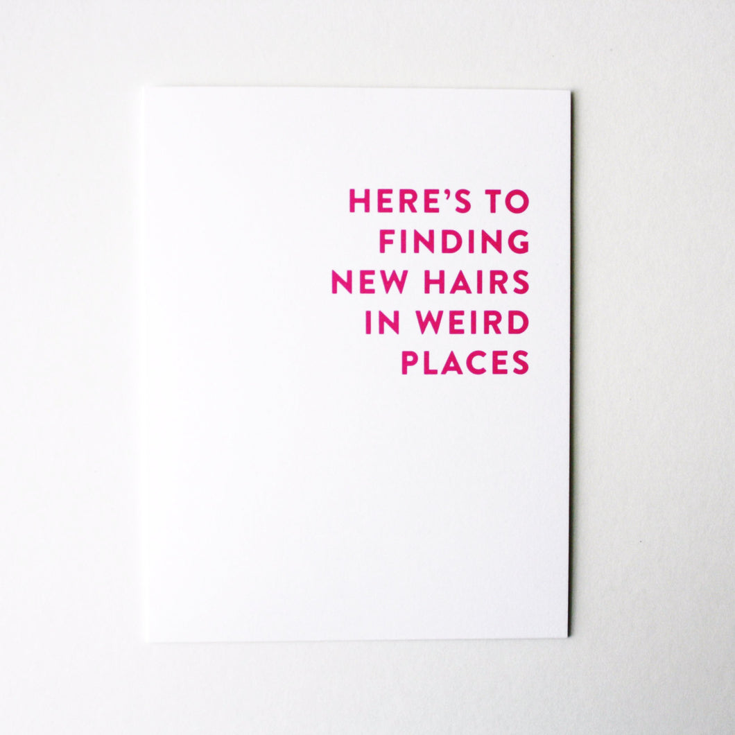 hair in new places card
