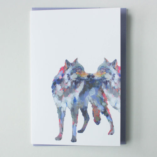 kissing wolves greeting card
