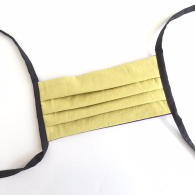 plain reusable cotton mask - pale yellow and grey