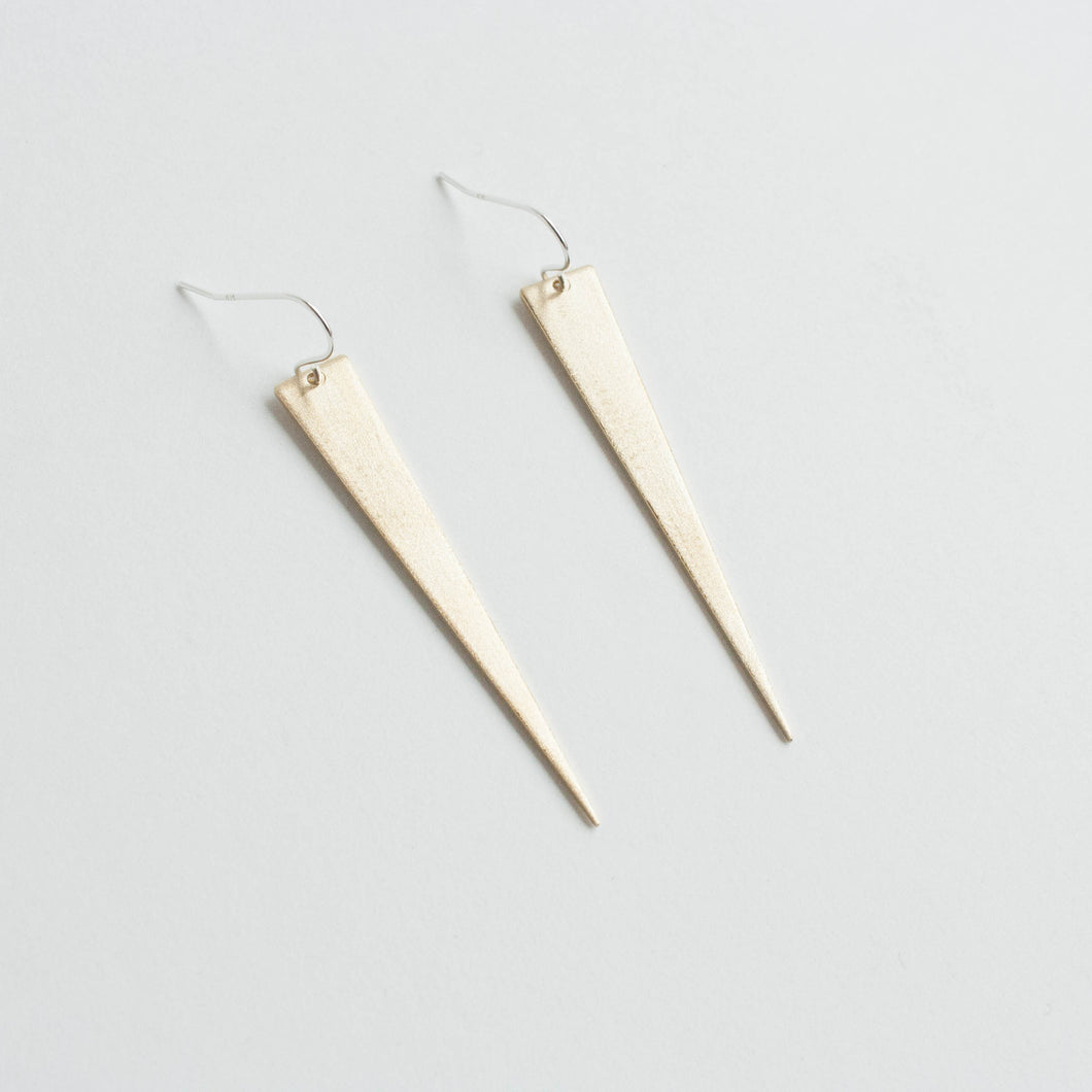 dagger brass earrings