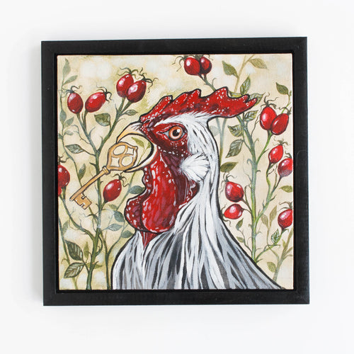 rooster and rosehip - original painting